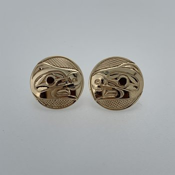 Round Beaver Button Earrings