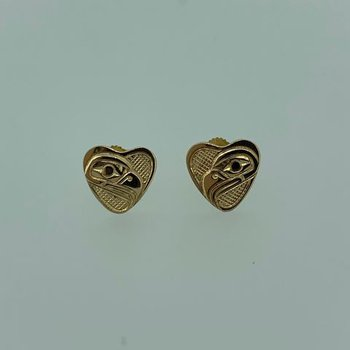 Eagle Heart Button Earrings