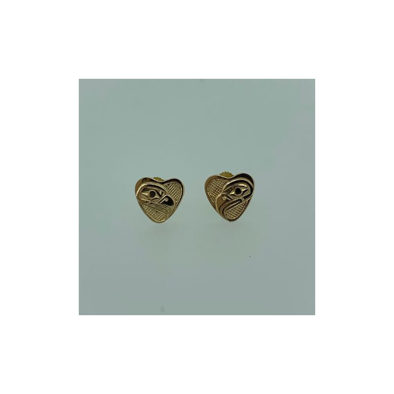 First Nations Jewellery Eagle Heart Button Earrings