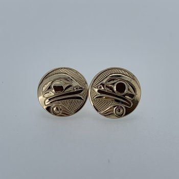 Round Frog Button Earrings