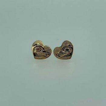Wolf Heart button Earrings