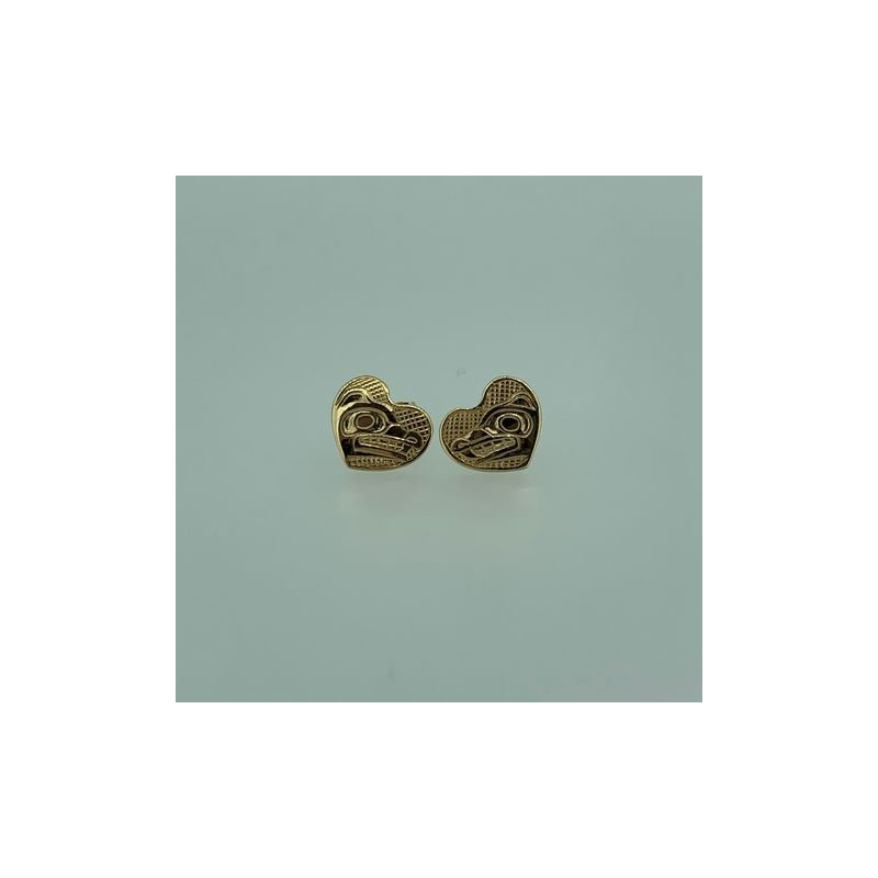 First Nations Jewellery Wolf Heart button Earrings