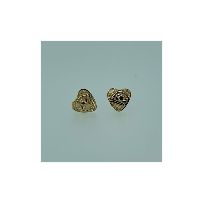 First Nations Jewellery Frog Heart Button Earrings