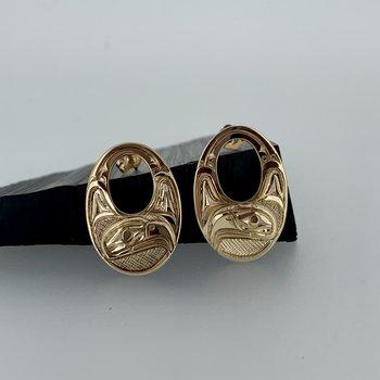 Cut out Oval Eagle stud earrings