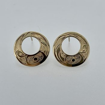 Cut out Round Raven stud Earrings