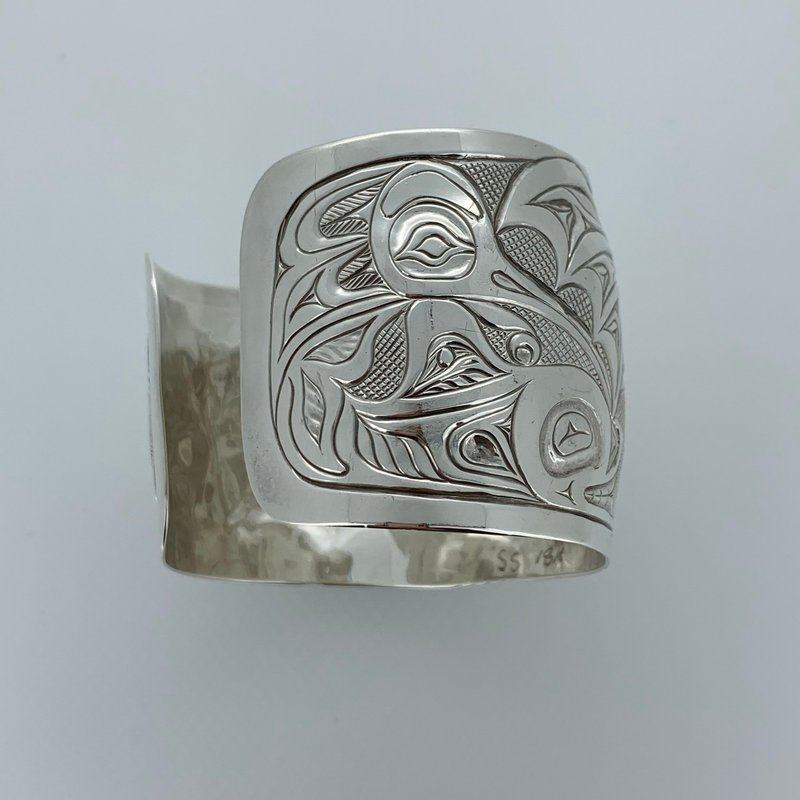 First Nations Jewellery Large 2-tone bracelet by Bill and Alex Helin