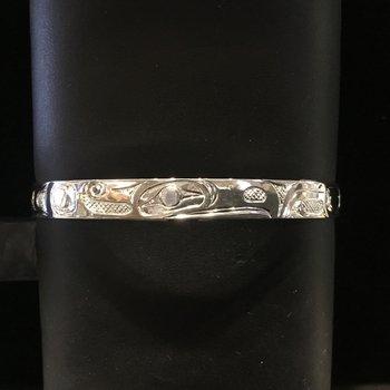 """Sterling sliver raven 1/4"""" bracelet by Ron Jackson"""