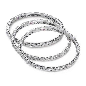 'I Love You Today..Tomorrow.. Forever…' Bangle Bracelets