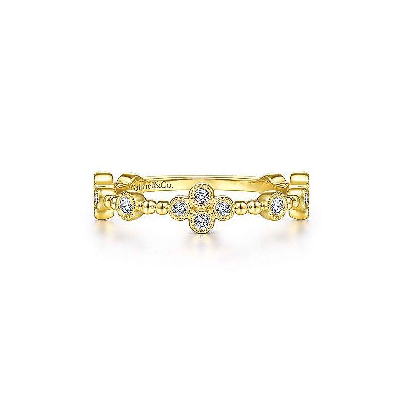 Gabriel Fashion 14K Yellow Gold Bezel Set Diamond Stackable Ladies Ring
