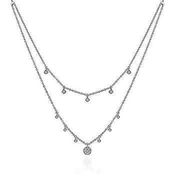 14k White Gold Layered Diamond Charm Fashion Necklace