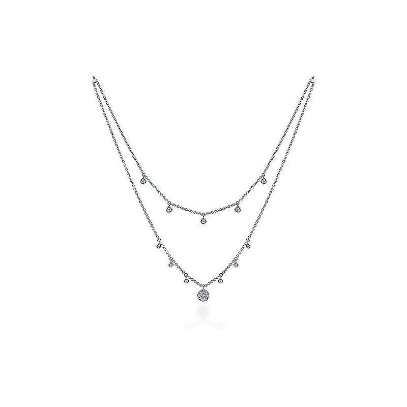 Gabriel Fashion 14k White Gold Layered Diamond Charm Fashion Necklace