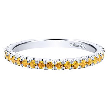 14k White Gold Stackable Citrine Ladies' Ring