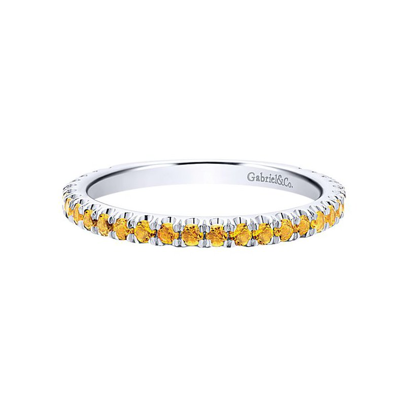 Gabriel Fashion 14k White Gold Stackable Citrine Ladies' Ring