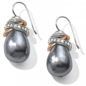 Neptune's Rings Gray Pearl French Wire Earrings