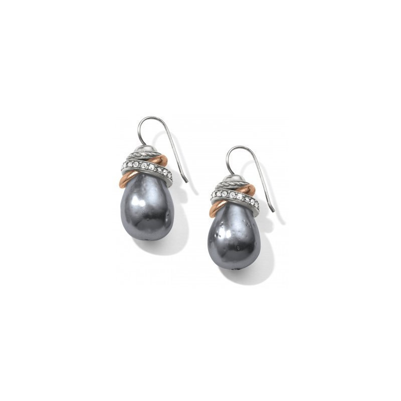 Brighton Neptune's Rings Gray Pearl French Wire Earrings
