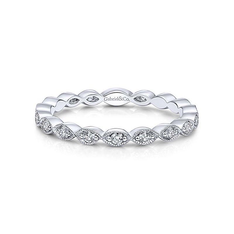 Gabriel Fashion 14k White Gold Stackable Diamond Ladies' Ring