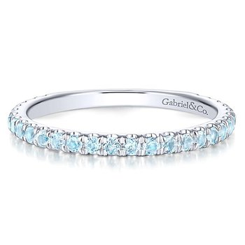 14k White Gold Stackable Topaz Ladies' Ring