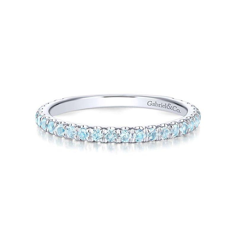 Gabriel Fashion 14k White Gold Stackable Topaz Ladies' Ring