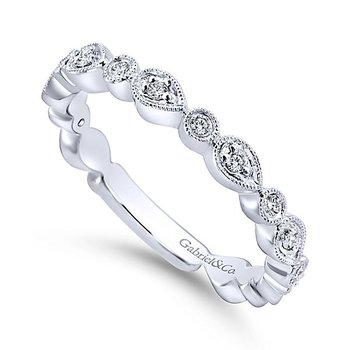 14k White Gold Stackable Diamond Ladies' Ring