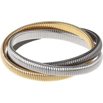 Triple Strand Goldtone, Gunmetal, Silver Rolling Bracelet