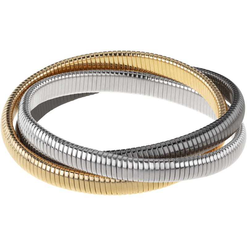 Great American Jewelry  Triple Strand Goldtone, Gunmetal, Silver Rolling Bracelet