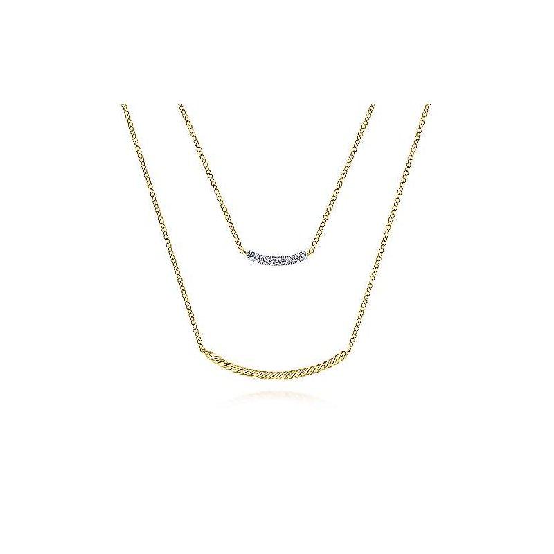 Gabriel Fashion 14k Yellow Gold Layered Twisted Diamond Bar Necklace