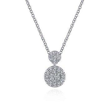 14k White Gold Fashion Double Diamond Disc Necklace