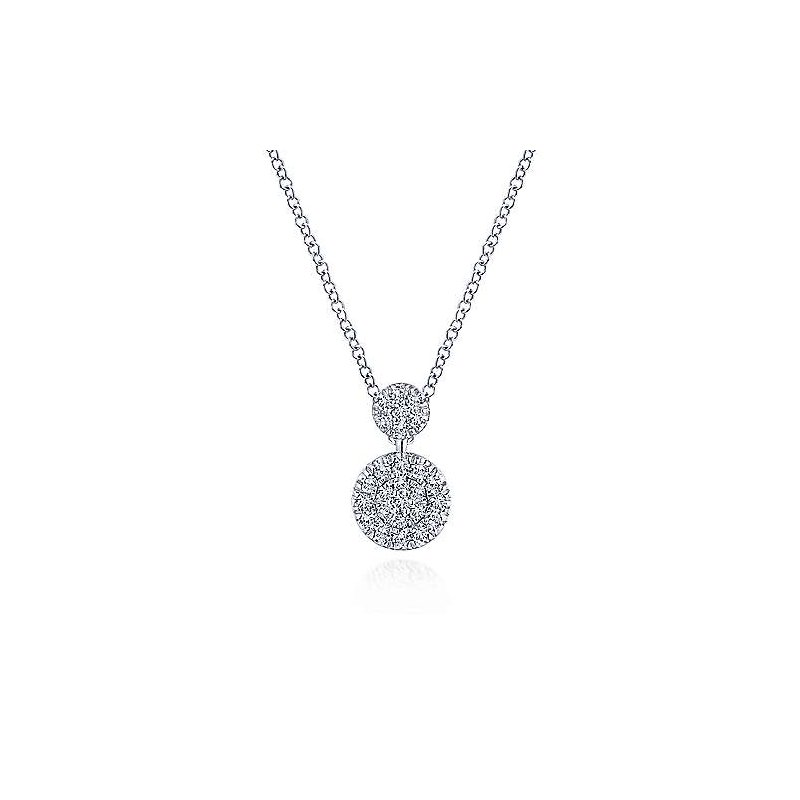 Gabriel Fashion 14k White Gold Fashion Double Diamond Disc Necklace
