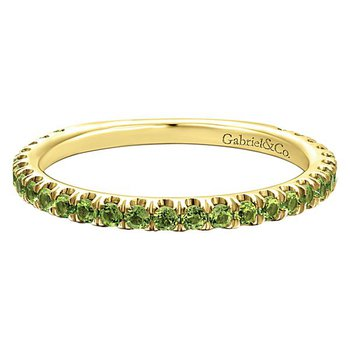 14k Yellow Gold Stackable Peridot Ladies' Ring