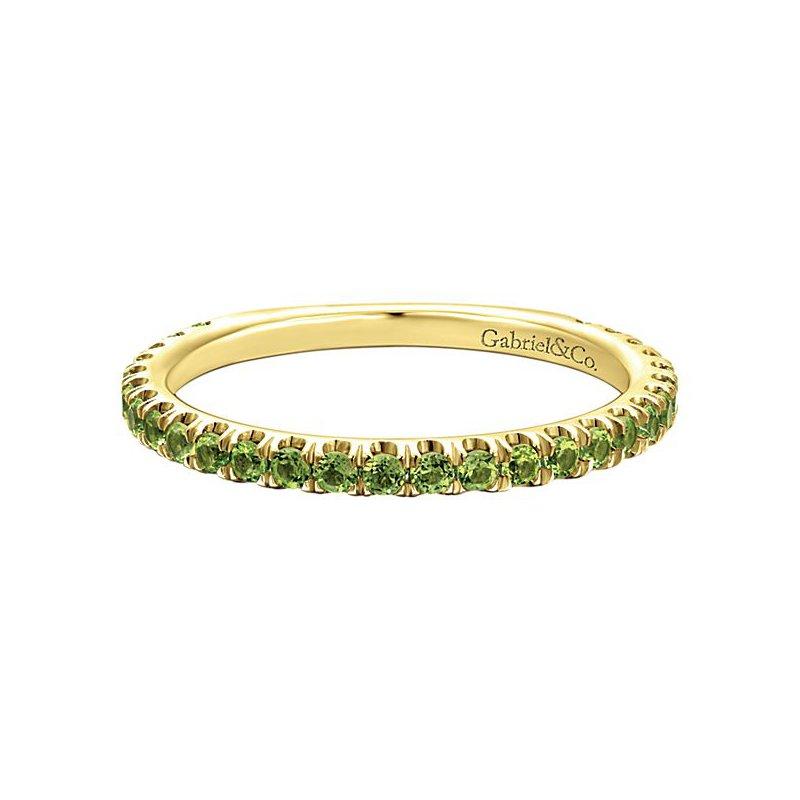 Gabriel Fashion 14k Yellow Gold Stackable Peridot Ladies' Ring