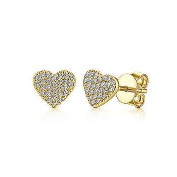 14K Yellow Gold Fashion Heart Earrings