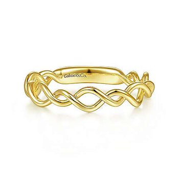 14K Yellow Gold Twisted Fashion Ladies Ring