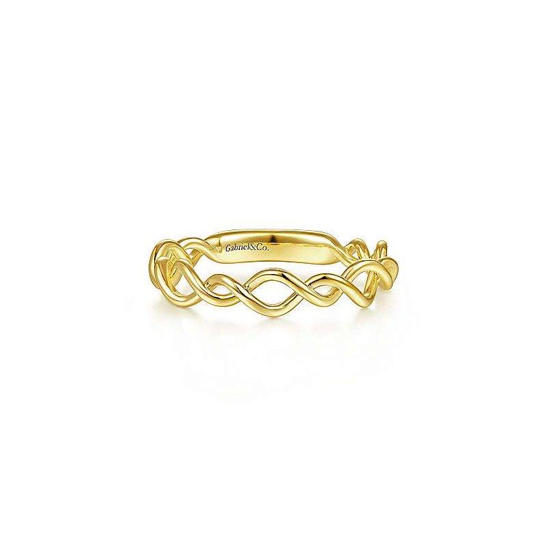 Gabriel Fashion 14K Yellow Gold Twisted Fashion Ladies Ring