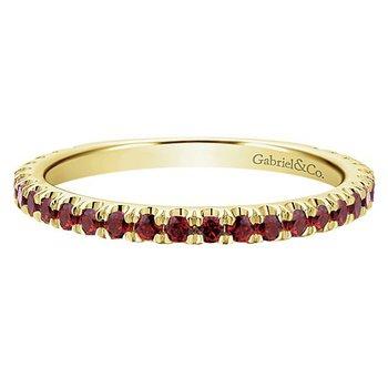 14k Yellow Gold Stackable Garnet Ladies' Ring