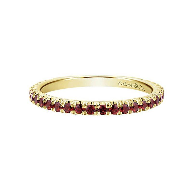 Gabriel Fashion 14k Yellow Gold Stackable Garnet Ladies' Ring