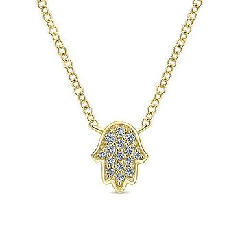 14K Yellow Gold Hamsa Fashion Necklace
