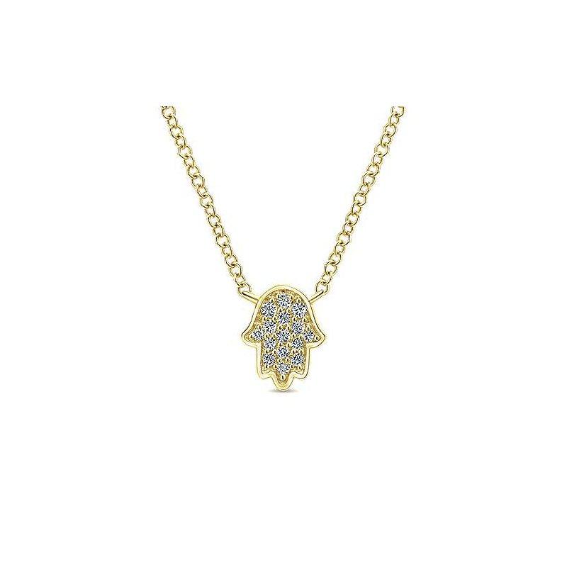 Gabriel Fashion 14K Yellow Gold Hamsa Fashion Necklace