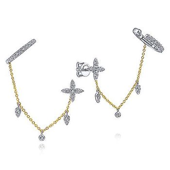 14K Yellow & White Gold Fashion Earrings