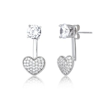Sterling Silver Pave Heart and Cubic Zirconia Stud Earring