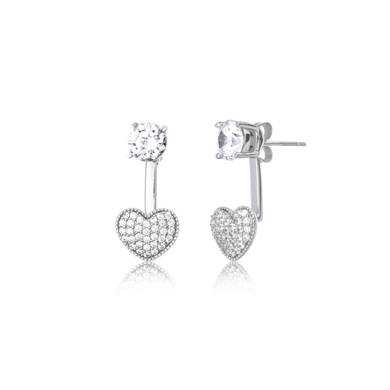 Great American Jewelry  Sterling Silver Pave Heart and Cubic Zirconia Stud Earring