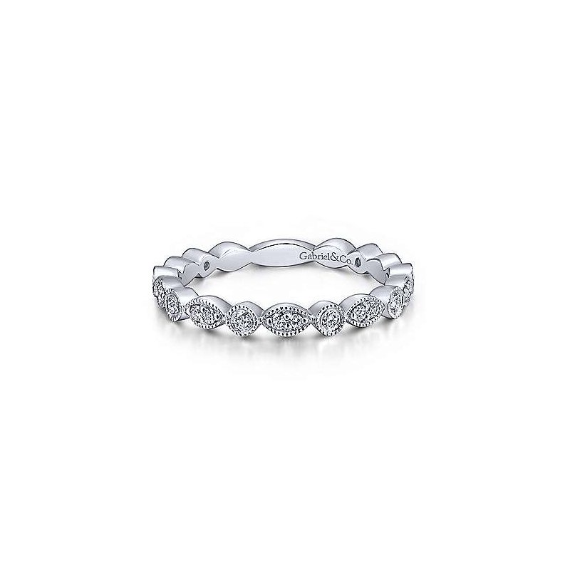 Gabriel Fashion 14K White Gold Scalloped Round and Marquise Diamond Ring
