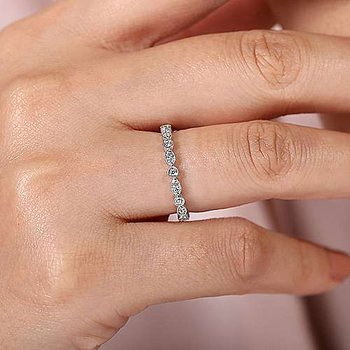 14K White Gold Scalloped Round and Marquise Diamond Ring