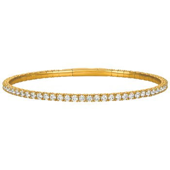 14kt Yellow Gold Flexible Diamond Cuff Bracelet