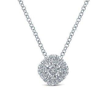 14K White Gold Diamond Pav Cushion Pendant Necklace