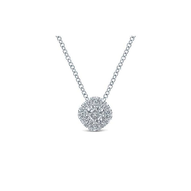 Gabriel Fashion 14K White Gold Diamond Pav Cushion Pendant Necklace