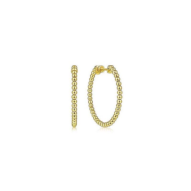 Gabriel Fashion 14K Yellow Gold Beaded 30mm Round Classic Hoop Earrings