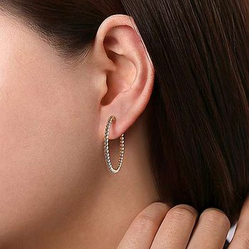 14K Yellow Gold Beaded 30mm Round Classic Hoop Earrings