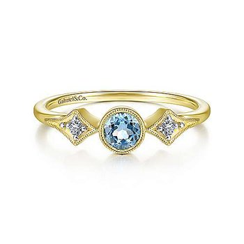 14K Yellow Gold Round Blue Topaz Diamond Side Stones Ring