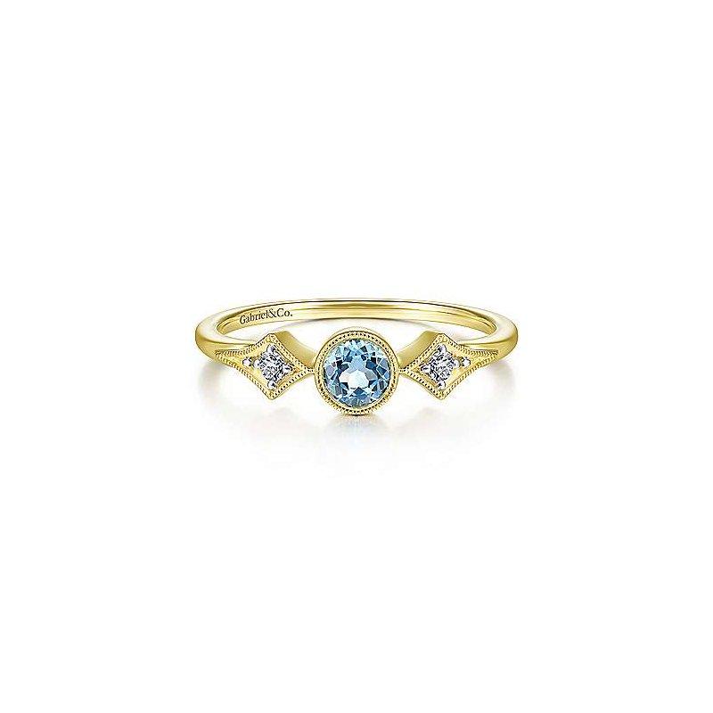 Gabriel Fashion 14K Yellow Gold Round Blue Topaz Diamond Side Stones Ring