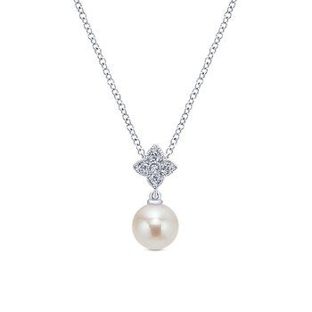 14k White Gold Grace Diamond Pearl Necklace